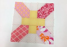 yellow and pink quilt block