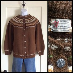 Rockabilly Fair Isle Nordic Cardigan Ski wool Sweater looks size L Handknitted…