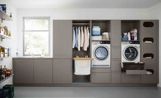 Who says utility rooms have to be boring. When attention to detail is your thing call taylorscot always thinking outside the box!… Like the built in storage for galley style laundry room with window Utility Room Storage, Laundry Room Organization, Built In Storage, Storage Shelves, Utility Room Ideas, Utility Sink, Storage Room, Shelf, Basement Laundry