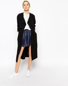$81, Black Trenchcoat: Weekday Relaxed Trench. Sold by Asos. Click for more info: https://lookastic.com/women/shop_items/203443/redirect