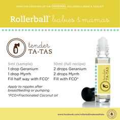 Tender Ta-Tas :: Rollerball Babies & Mamas Make & Take Workshop Kit #essentialoils #recipe #rollerballs #breastfeeding #newmom #makeandtake #kit