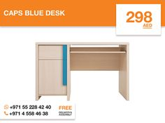 This simple yet practical Caps blue desk is the perfect addition to Your Home office. The light Belluno oak finished desk can conveniently be placed in the corner of Your room to maximize space usage. The two ample drawers will provide You with enough storage space for office supplies, papers, books, and more behind doors with blue highlighted holders. The spacious surface is perfectly made for Your computer. More details: http://gtfshop.com/caps-blue-desk