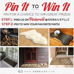 You could win any of these luxurious home or pet mats with our #PinItToWinIt Promotion! Simply #pintowin your favorite products on our pinboard to be entered for a chance to win one of your selections as a prize. #win #sweepstakes #contest #giveaway #prizes