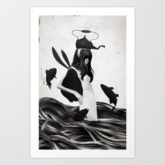 A mile away from anywhere. By Ruben Ireland. Digital, ink, ocean, teapot, rabbit, adventure, fish. Collect your choice of gallery quality Giclée, or fine art prints custom trimmed by hand in a variety of sizes with a white border for framing.
