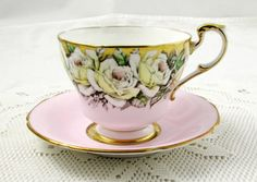 Paragon Pink Tea Cup and Saucer with White Roses, Gold, Excellent Condition   Antiques, Decorative Arts, Ceramics & Porcelain   eBay!