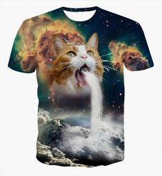 Galaxy Cat Waterfall onto Earth T Shirt //Price: $18.00 & FREE Shipping //     #instagood