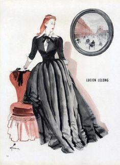 1945  Lucien Lelong  Evening Gown René Gruau