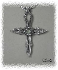 DIY :  Beaded Ankh. Pattern is easy to read.. I love this one!