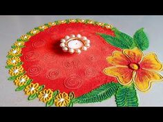 How to draw Simple and BEAUTIFUL Flower Rangoli Designs with Colours for Festivals Colorful Rangoli Designs, Beautiful Rangoli Designs, Kolam Designs, Mehndi Designs, Rangoli Simple, Small Rangoli, Flower Rangoli, Rangoli Borders, Rangoli Patterns