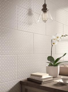 Create a decorative look with these patterned Laura Ashley Finsbury White Ceramic Wall Tiles from Tilesporcelain. These tiles are well suited to feature wall designs. They add a unique style to modern bathrooms and kitchens White Wall Tiles, Wall And Floor Tiles, Kitchen Wall Tiles, Ceramic Wall Tiles, Kitchen Floor, Kitchen Backsplash, Laura Ashley Wall Tiles, New Nature Wallpaper, Tile Design