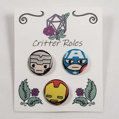 Chibi Marvel Character Buttons Made From Marvel Fabric