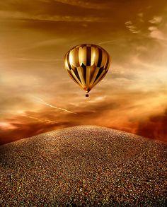 Golden hot air balloon.