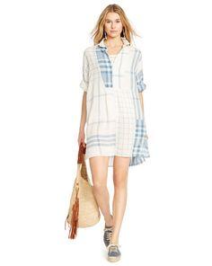 Plaid Linen Patchwork Dress - Polo Ralph Lauren Short Dresses - RalphLauren.com