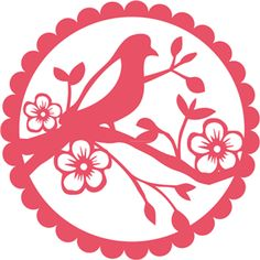 Silhouette Online Store - View Design #18101: bird cherry blossom doily lace
