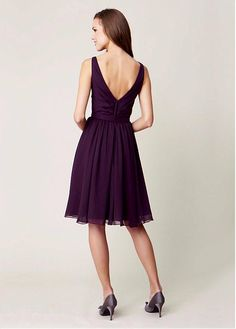 Buy discount Attractive Chiffon V-neck Natural Waistline Knee-length A-line Bridesmaid Dresses With Belt at Dressilyme.com