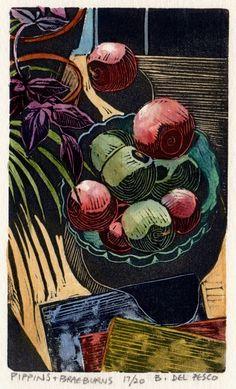 Bowl of Apples Fruit Still Life Original Linocut Woodcut with Watercolor Mini Print Belinda DelPesco