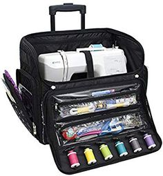 244137f053 Amazon.com  Everything Mary Deluxe Quilted Black  amp  Floral Rolling  Sewing Machine Tote
