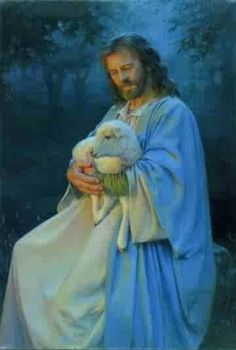 Jesus Our Good Sheperd holding one of His lambs in His arms. So consoleing.