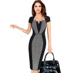 Optical Illusion Contrast Belted 2017 Women Autumn Vintage Slim Work Office Business Party Bodycon Dress