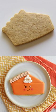 This adorable Pumpkin Pie Slice decorated cookie is so perfect for Thanksgiving! This recipe for Pumpkin Spice Cutout Cookies is a delicious variation on traditional sugar cookies. These are the perfect cookie for fall! Thanksgiving Cookies, Fall Cookies, Cut Out Cookies, Iced Cookies, Royal Icing Cookies, Cookies Et Biscuits, Pumpkin Sugar Cookies Decorated, Sugar Cookie Decorating, Sugar Cookie Icing