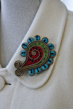 Felt and zipper paisley brooch by woollyfabulous on Etsy, $38.00