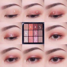 Pin by Maliko on Makeup in 2020 Asian Makeup Tutorials, Korean Makeup Tips, Asian Eye Makeup, Pink Eye Makeup, Makeup Eye Looks, Eye Makeup Brushes, Eye Makeup Art, Cute Makeup, Eyeshadow Makeup
