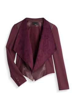 I have nothing to wear this jacket with, but I like the different textures and the fact that it's not black. :D