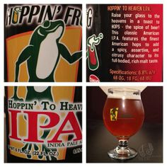 Hoppin' to Heaven from Hoppin' Frog Brewery - Grapefruit and kiwi giddy up with mandarin wedges and aromatic honey-glazed blood oranges. Apricot butterballs meander with mango guava juice while cottony marigolds provide a light, herbaciously bitter quality. #properglassware