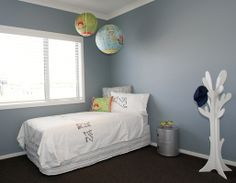 Resene Clouded Blue is a gorgeous kids bedroom colour! Neutral Bedrooms, Bedroom Colors, Grey Carpet Hallway, Resene Colours, Green Wall Color, Wall Colours, Paint Colours, Cool Kids Bedrooms, Kids Bedroom Furniture
