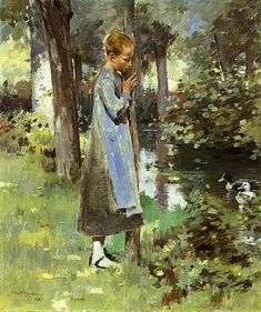 Theodore Robinson, (American Impressionist painter By the River 1887 Claude Monet, Theodore Robinson, Jean Leon, Modern Art Styles, American Impressionism, River Painting, Impressionist Landscape, Landscape Paintings, Landscapes