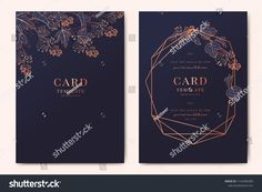 Wedding Invitation, floral invite thank you, rsvp modern card Design in copper peony with navy blue and tropical palm leaf greenery eucalyptus branches decorative Vector elegant rustic template Design