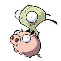 Invader Zim Gir on a piggie