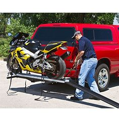 """Amazon.com: Hitch Mounted Sport Bike & Motorcycle Carrier with a 600 lb. Capacity and 72"""" Loading Ramp: Rage Powersports: Automotive"""