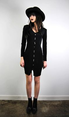 vintage dress 1980's black long sleeved body by youngandukraine, $44.00