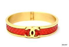 Vintage Coco Chanel Red Snakeskin Leather CC Logo Bangle Cuff Bracelet #Chanel
