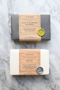A smart way of packaging soap. Outstanding names.