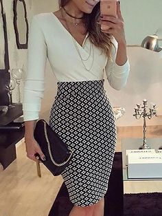 V-neck Long Sleeves Patchwork Bodycon Knee-length Dress - Moda Femminile Business Casual Outfits, Professional Outfits, Office Outfits, Business Fashion, Classy Outfits, Young Professional, Chic Outfits, Office Attire, Office Wear