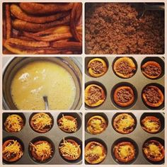 Mini piononos *platano *carne molida *huevo batido *Queso *bandeja de hornear --el batido de huevo se aplica al fondo de la bandeja, se pone las rajadas de plátano aplica la carne ya preparada luego el queso rayado, horneas y listo.
