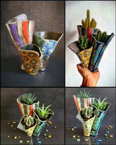 """Raku colorful coastal planter pot trio """"sea anemone"""" - by federico becchetti art, find out more: - Pottery Pots, Raku Pottery, Slab Pottery, Clay Art Projects, Ceramics Projects, Clay Crafts, Paper Crafts, Slab Ceramics, Pottery Courses"""
