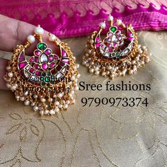 Pls what's app 9790973374 or inbox for price details and ordering No cash on delivery Gold Earrings Designs, Gold Jewellery Design, Bead Jewellery, Silver Jewelry, Jewlery, Jewelry Patterns, Designer Earrings, Indian Jewelry, Bridal Jewelry