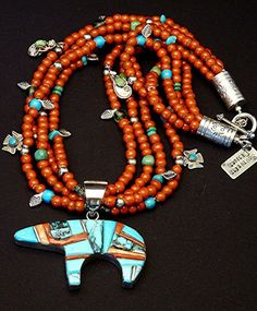 Two-Sided Inlaid Navajo Bear Pendant with Four Strands of White Heart Beads, Mixed Turquoise, Handcrafted Charms & Sterling Navajo Jewelry, Southwest Jewelry, Tribal Jewelry, Turquoise Jewelry, Beaded Jewelry, Western Jewelry, Hippie Jewelry, Native American Jewellery, American Indian Jewelry