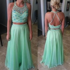 Amazing Light Green Two Piece Beaded Beach Prom Dresses Party Evening Gown