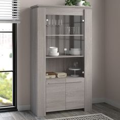 Chanhassen Display Cabinet Mercury Row Wall Mounted Display Cabinets, Corner Display Cabinet, Wood Display, Tall Cabinet Storage, Shaker Style Doors, Home Additions, Cabinet Design, China Cabinet, Storage Spaces