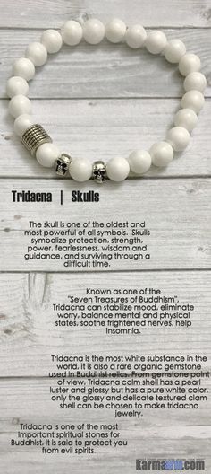 Skulls symbolize protection, strength, power, fearlessness, wisdom and guidance, and surviving through a difficult time.......Tridacna can stabilize mood, eliminate worry, balance mental and physical states & soothe frightened nerves.....Mantra Healing meditation Yoga Bead Mala Spiritual Bracelet. Tridacna Skulls jewelry.