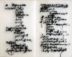 Integral by Jonathan Callan, 2002 http://www.artnet.com/artists/jonathan-callan/ #fiber_art #text #stitching Words stitched on x rays of peoples experiences with dementia