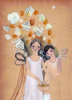 Apricot Girls print of original drawing . , via Etsy.