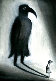 Girl with spooky bird shadow