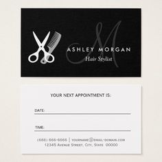 black white monogram hair hairstylist appointment hairstylist business cardshair - Stylist Business Cards