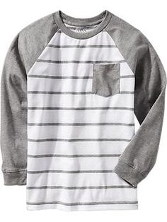 Boys Striped-Raglan Pocket Tees