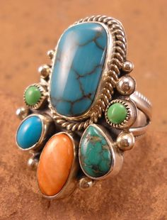 Ring | David Lister.  Sterling silver, Turquoise, Gaspeite, Spiny Oyster.